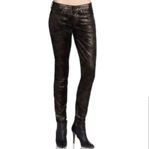 •NWOT 7 For All Mankind• Black-Gold Metallic Jeans